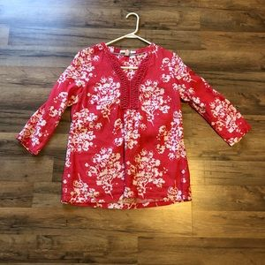 Boden Macrame 3/4 sleeve top